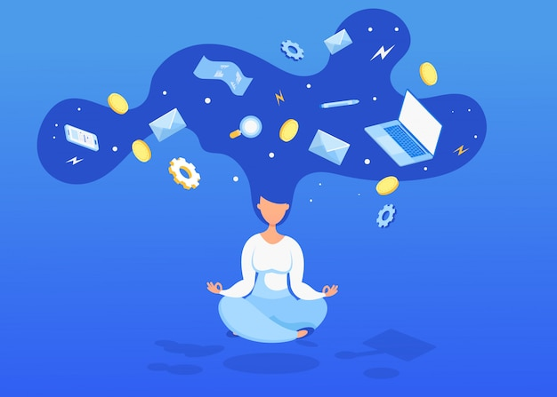 Levitating woman with coins, computers and a check. time management, productivity and organization.