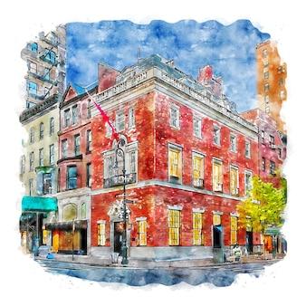 Леви горви нью-йорк акварельный эскиз рисованной иллюстрации