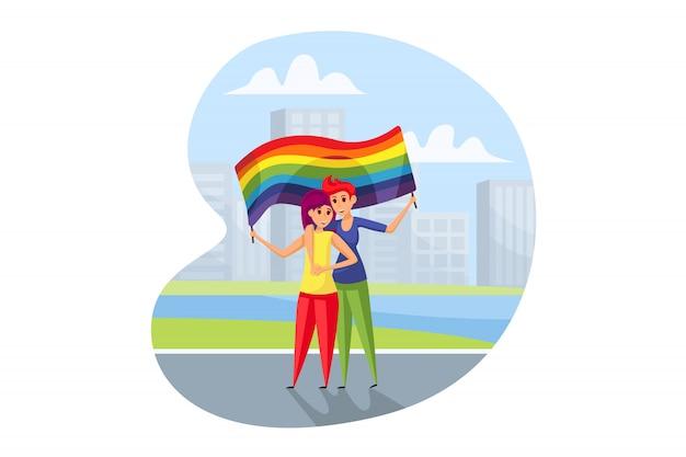 Lgbt activism, parade concept.