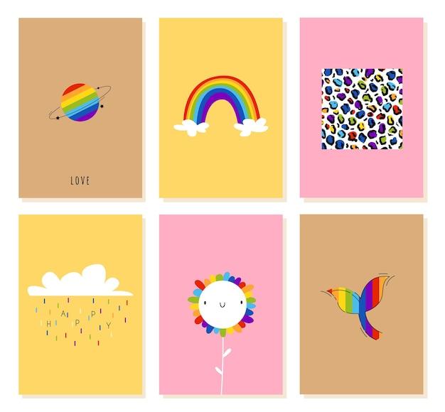 Открытки на день рождения лгбт с радугой, планетой и цветами