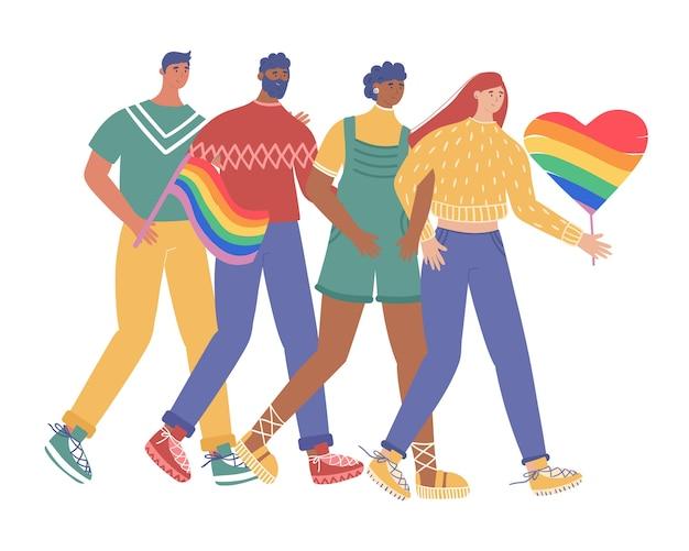 Lgbt 커뮤니티. 게이와 레즈비언 그룹이 프라이드 퍼레이드에 참여합니다. 만화 스타일의 벡터 일러스트 레이 션.
