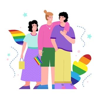 무지개 기호, 흰색 배경에 고립 된 평면 벡터 일러스트와 함께 lgbt 커뮤니티 만화 캐릭터. 차별에 반대하는 동성애 및 레즈비언 운동.