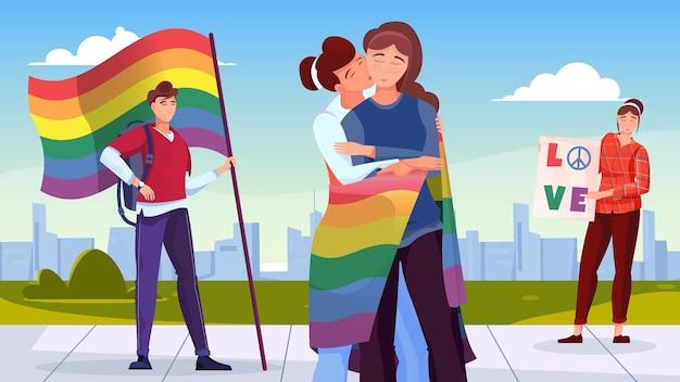 虹のイラストの色で旗を保持している若者とlgbtコミュニティフラット背景