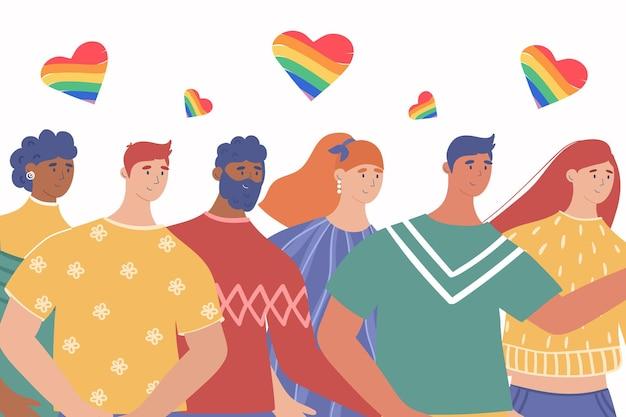Lgbt 커뮤니티. 게이 커플과 레즈비언 포스터. 프라이드 퍼레이드. 밝은 벡터 일러스트 레이 션.
