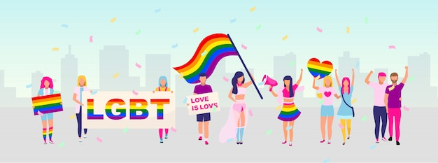 Lgbt community rights protection protest   illustration. pride parade, festival concept. lgbt street demonstration, movement participants with rainbow flags and banners cartoon characters