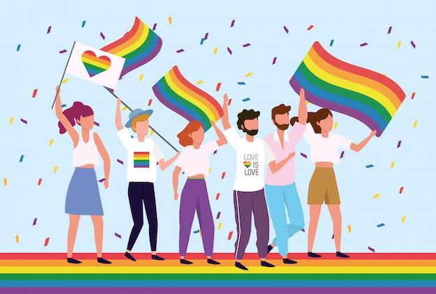 自由への虹の旗を持つlgbtコミュニティ