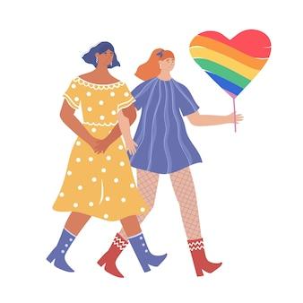 Lgbt 개념. 사랑에 빠진 두 명의 레즈비언이 프라이드 퍼레이드에 참여합니다.