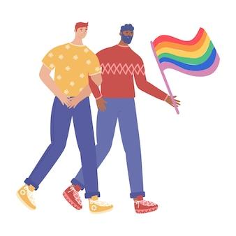 Lgbtの概念。恋愛中の同性愛者のカップルがプライドパレードに参加します。白い背景で隔離のイラスト。