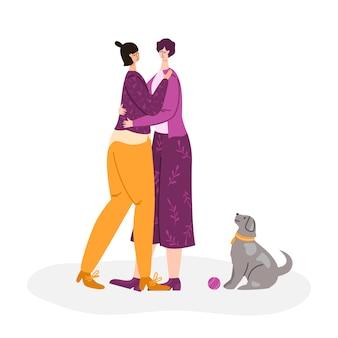 Lgbtコンセプト-ゲイの女性のカップルが一緒にチャット、笑顔、ハグ。若い女性のロマンチックなカップル