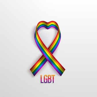 Lgbt concept with rainbow ribbon, symbol of lgbt community. recognising lgbt, equality and diversity of people.