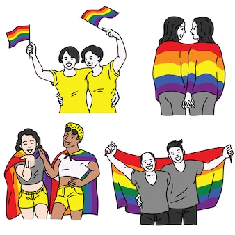 Lgbt couple with flag set