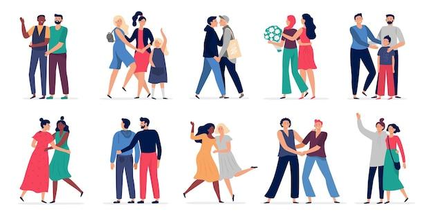 Lgbt 커플. 로맨틱 게이 커플 데이트, 행복한 사람들이 함께 포옹하고 춤을.