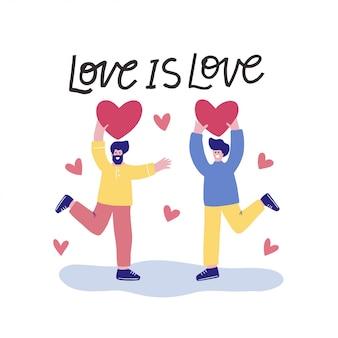 Лгбт плоский векторные иллюстрации. дизайн для гордости. гей мужской и женский мультипликационный персонаж