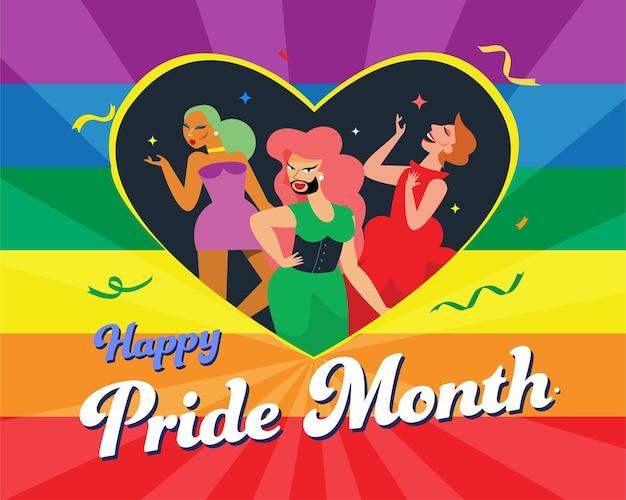 Ragazze lgbt all'interno di un simbolo del cuore arcobaleno, bandiera della comunità lgbt