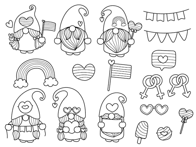 Lgbt gnome coloring page pride month coloring pages