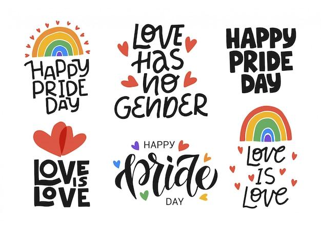 Lgbtイラストセット。プライドコミュニティのコンセプト。ハッピープライドの日、愛は愛の手描きのモダンなレタリングの引用です。祭りのスローガン。