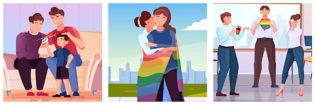 Lgbt illustrations set with group of young people with lgbt symbols