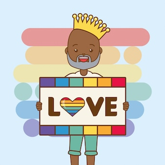 Lgbt person with love board