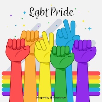 Lgbt pride background with colorful hands