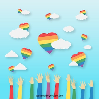 Lgbt pride background with colorful hearts
