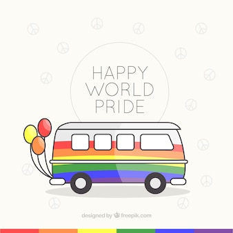 Lgbt pride background with colorful van