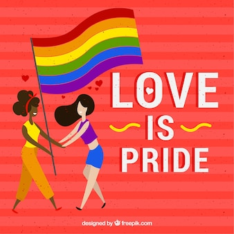 Lgbt pride background with couple and flag
