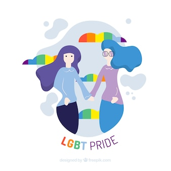 Lgbt pride background with couple