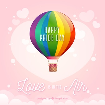 Lgbt pride background with hot air balloon