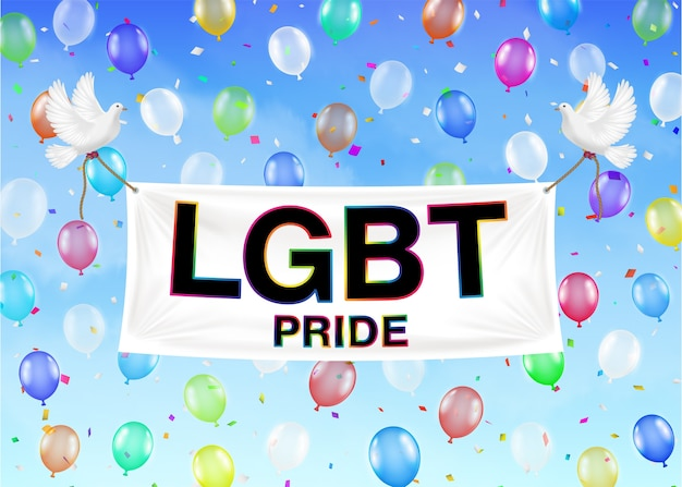 Lgbt pride banner on colorful balloon and sky