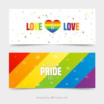 Lgbt pride banners in flat style