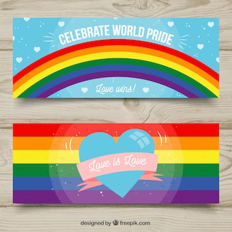 Lgbt pride banners in hand drawn style