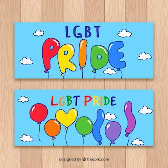 Lgbt pride banners with balloons