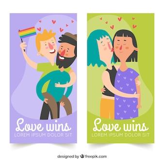 幸せな夫婦との自慢のバナー