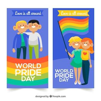Banner di orgoglio lgbt con coppie felici