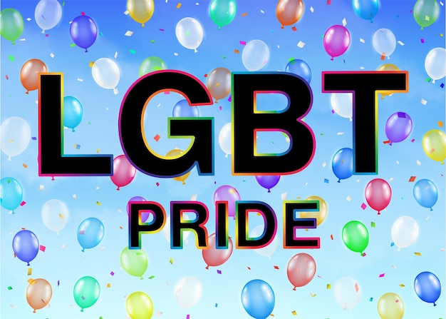Lgbt pride on colorful balloon sky background