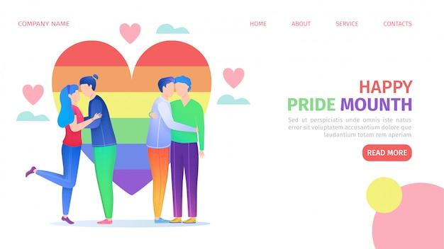 Lgbtプライドコミュニティ、虹色の心、同性愛者のカップルのランディングページの図。セクシュアリティとジェンダーのアイデンティティ、性的指向、ウェブにおけるlgbtの動き。
