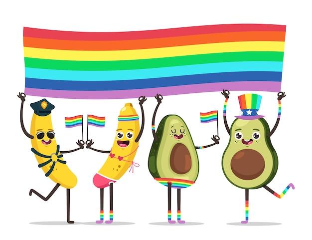 Lgbt 프라이드 개념 그림입니다. 게이 퍼레이드에 무지개 깃발이 달린 재미있는 과일. 벡터 만화 귀여운 캐릭터 흰색 배경에 고립입니다.