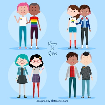 Lgbt pride couples collection in hand drawn style