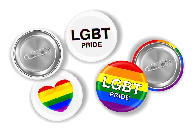 Lgbt pride and flag on steel pin brooch