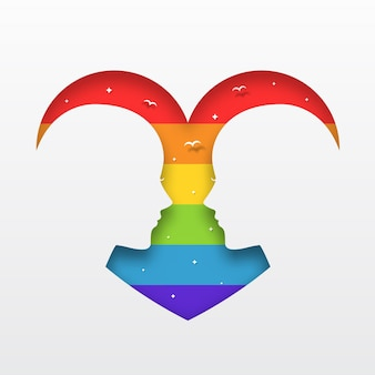 Lgbt pride love concept paper art style illustration