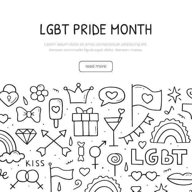 Баннер месяца гордости лгбт в рисованной