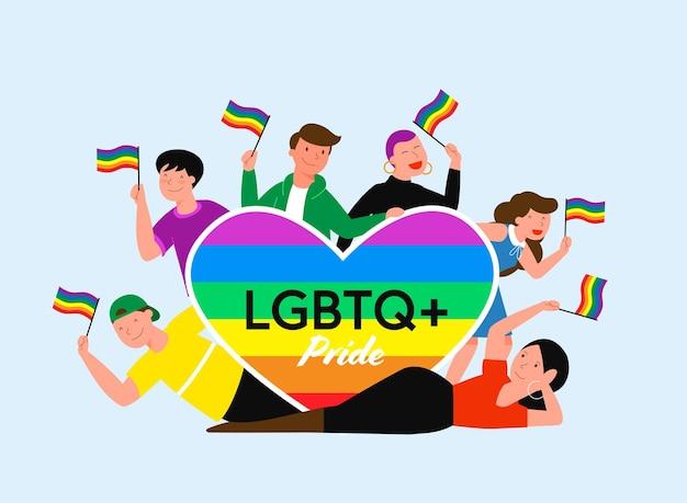 Illustrazione di vettore di concetto di mese di orgoglio lgbt con persone e grande cuore
