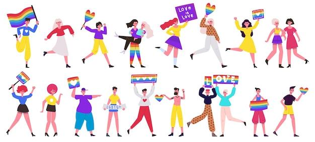 Lgbt pride parade. love parade, lesbian, gay, bisexual and transgender community movement. pride parade set.