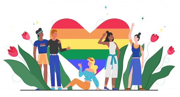 Lgbt pride rainbow heart concept  illustration. cartoon  happy lgbt community diversity people standing together with rainbow heart, symbol of love, equality, tolerance  on white