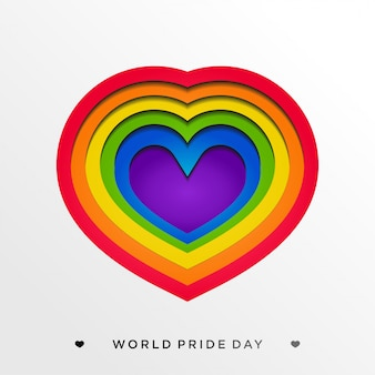 Lgbt pride with colorful heart in paper craft style