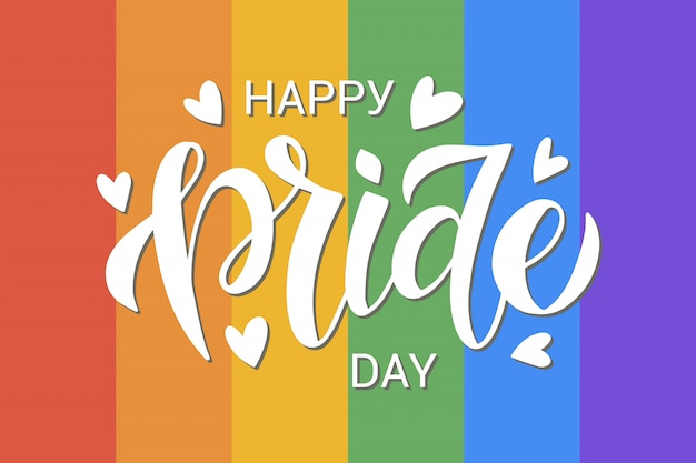 Lgbt vector illustration. happy pride day hand drawn modern lettering on rainbow background
