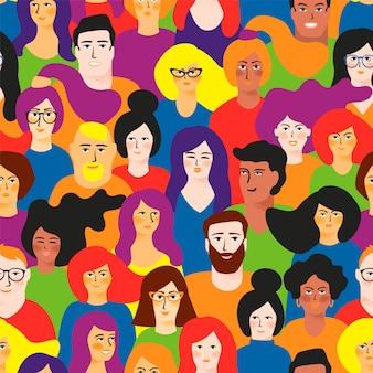 Lgbt色の若い男性と女性とのシームレスなパターンベクトル。