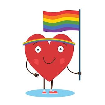 Lgbtの権利のための虹色の旗を持つシングルハートのマニフェスト。