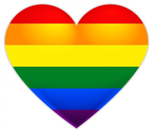 ゲイの虹色の旗。 lgbtフラグハート。