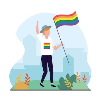 Lgbtのお祝いに虹色の旗を持つ男